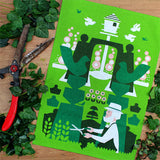 Gentleman Gardener tea towel by Daphne Padden