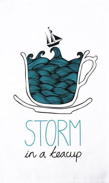 Storm in a Teacup tea towel by HelloWilson