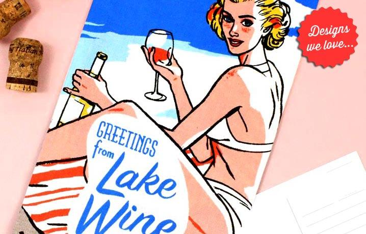 Greetings From Lake Wine tea towel