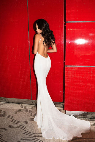 Abyss by Abby Jilah white sequin backless long formal gown