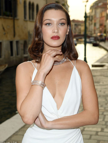 Bella Hadid at Venice Bulgari party make up and hair