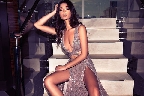 abyss by abby pink sequin gown with plunge detail and thigh slit