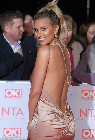 Ferne McCann wears abbys by abby unleashed gold gown