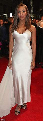 alexandra burke in a silky satin floor length evening dress
