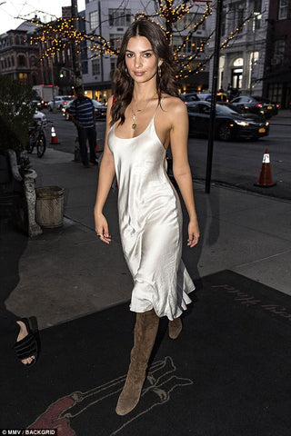 emily ratajkowski in a silky satin midi evening dress
