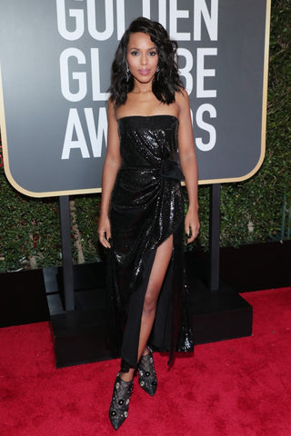 kerry washington at the 75th golden globes 2018 in black sequin dress