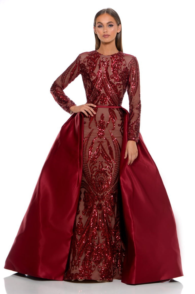 portia and scarlett cordelia red long sleeve sequin modest tudor style dress with detachable train sequin