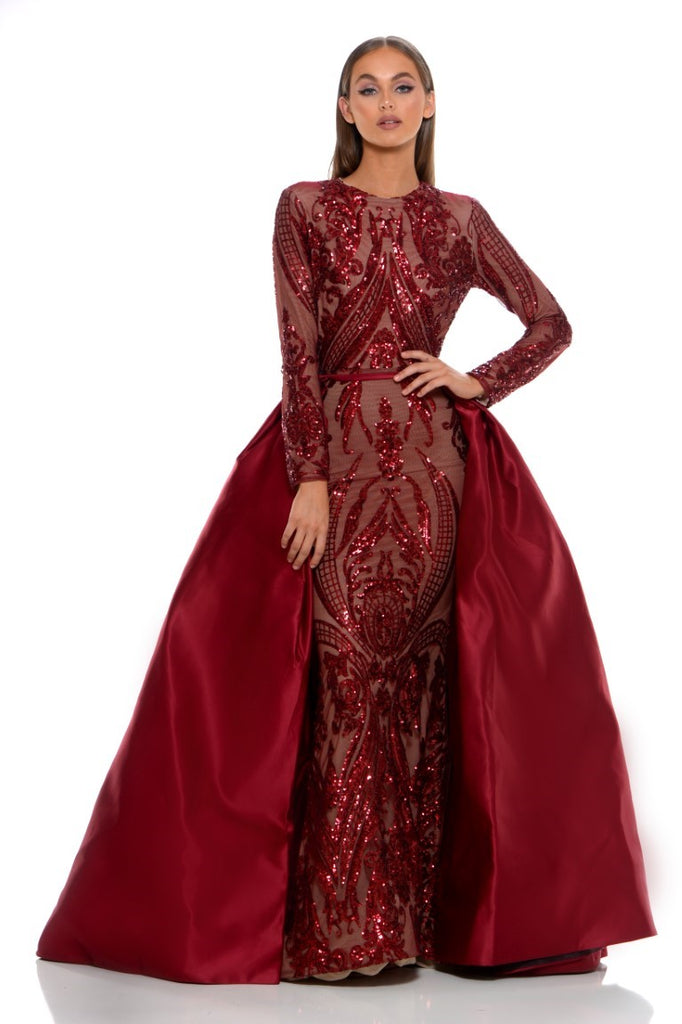 portia and scarlett cordelia red long sleeve sequin modest tudor style dress with detachable train sequin front
