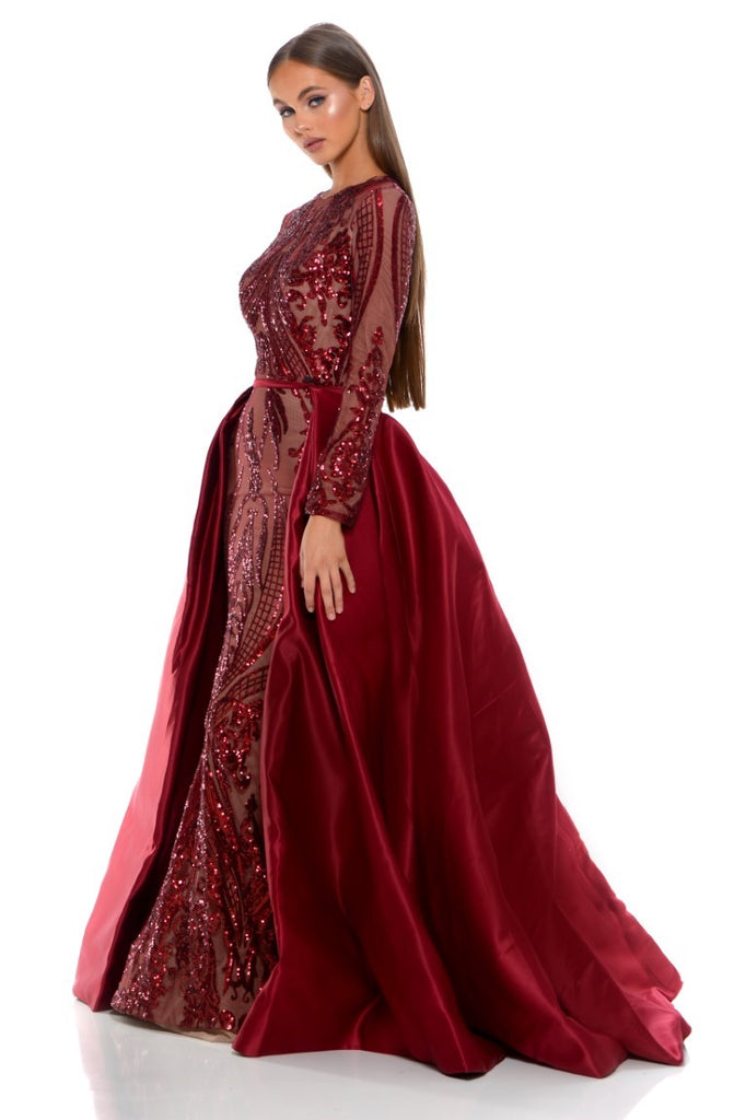portia and scarlett cordelia red long sleeve sequin modest tudor style dress with detachable train sequin side