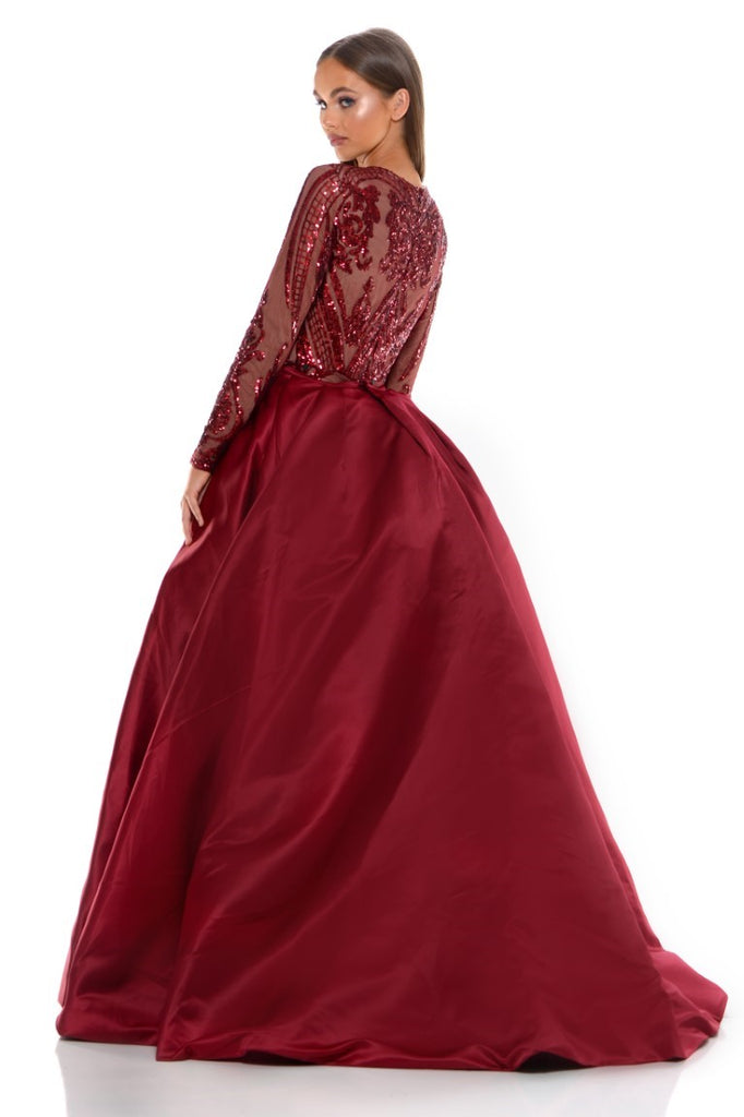 portia and scarlett cordelia red long sleeve sequin modest tudor style dress with detachable train sequin back