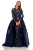 portia and scarlett cordelia 1705 navy blue long sleeved modest evening prom dress front