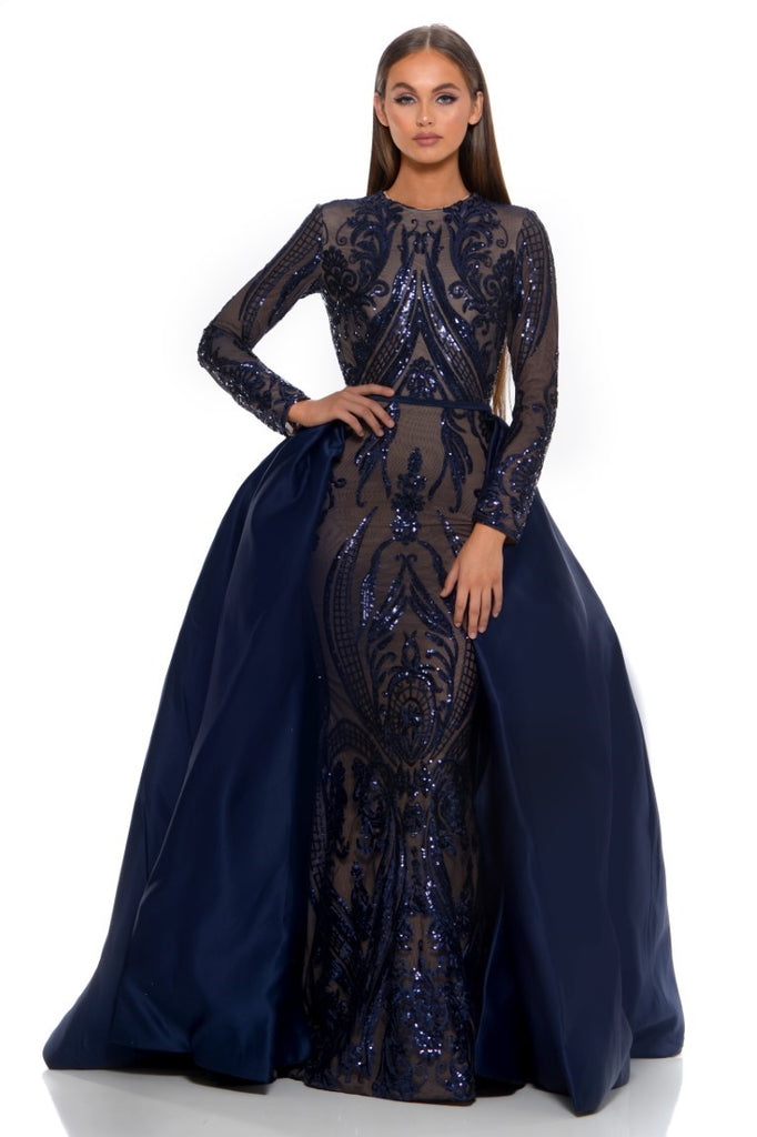 4a408a38aadf Portia and Scarlett Cordelia 1705 Navy Blue Sequin Long Sleeve ...