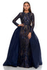 portia and scarlett cordelia 1705 navy blue long sleeved modest evening prom dress