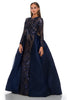 portia and scarlett cordelia 1705 navy blue long sleeved modest evening prom dress side