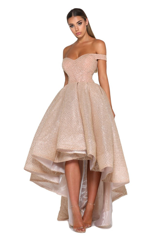 Portia and Scarlett Primrose bardot, sweethearr neckline dipped hem special occassion dress from shaide boutique uk online bridesmaids, eveningwear store