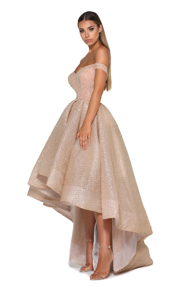 Portia and Scarlett Primrose bardot, sweethearr neckline dipped hem special occassion dress from shaide boutique uk online bridesmaids, eveningwear store side