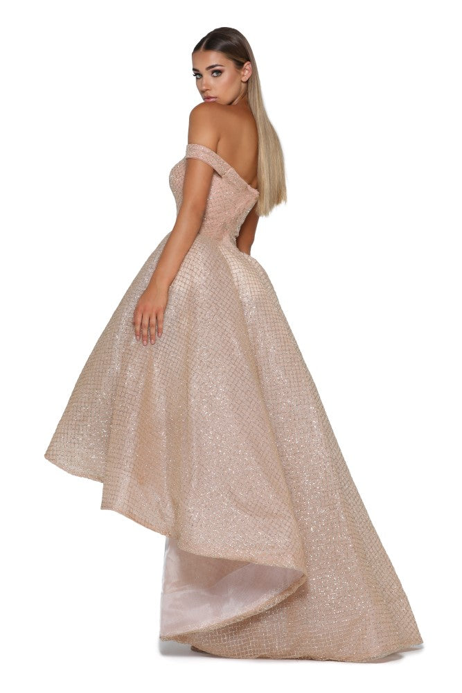 Portia and Scarlett Primrose bardot, sweethearr neckline dipped hem special occassion dress from shaide boutique uk online bridesmaids, eveningwear store back