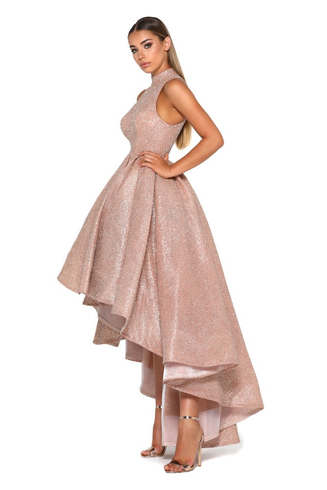 Portia and Scarlett Verity shimmering rose gold bardot, sweetheartneckline dipped hem special occassion dress from shaide boutique uk online bridesmaids dipped hem