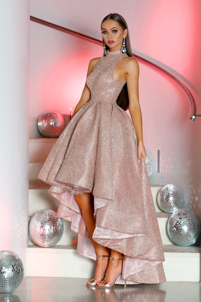 Portia and Scarlett Verity shimmering rose gold bardot, sweetheartneckline dipped hem special occassion dress from shaide boutique uk online bridesmaids choker