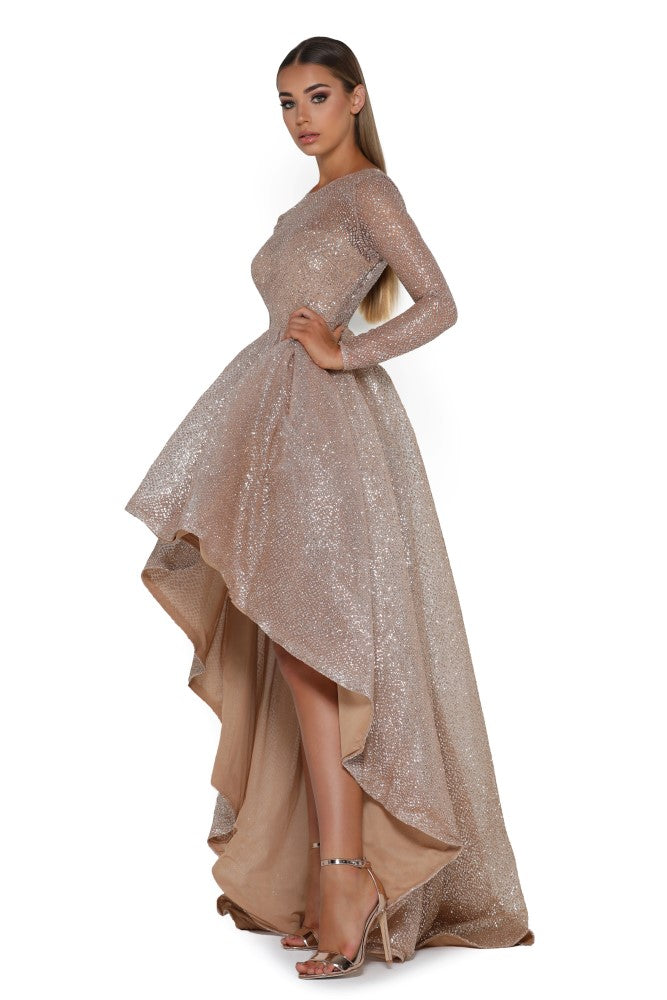 Portia and Scarlett Margot shimmering gold dipped hem special occassion dress from shaide boutique uk online bridesmaids
