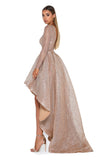 Portia and Scarlett Margot shimmering gold dipped hem special occassion dress from shaide boutique uk online bridesmaids side