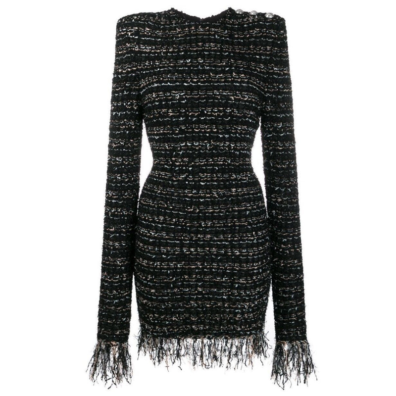 Natalynskska Printsessa boucle tweed bodycon balmain style evening dress from shaide boutique london