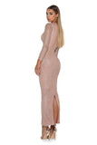 portia and scarlett dah ankle length gold dress long sleeves at shaide boutique uk