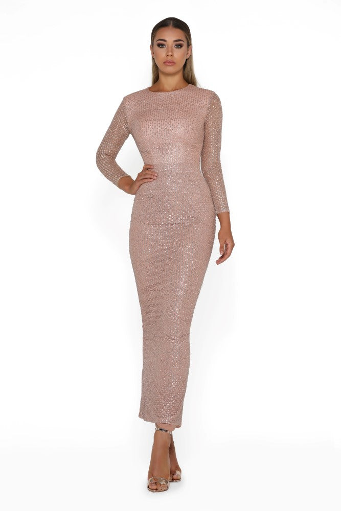 portia and scarlett dah ankle length gold prom dress long sleeves at shaide boutique uk