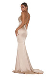 Portia & Scarlett Dana champagne coloured silky satin gathered bust bodycon fit strech bridesmaids dress sexy prom dress