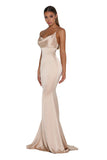 Portia & Scarlett Dana champagne coloured silky satin gathered bust bodycon fit strech bridesmaids dress sexy evening gown