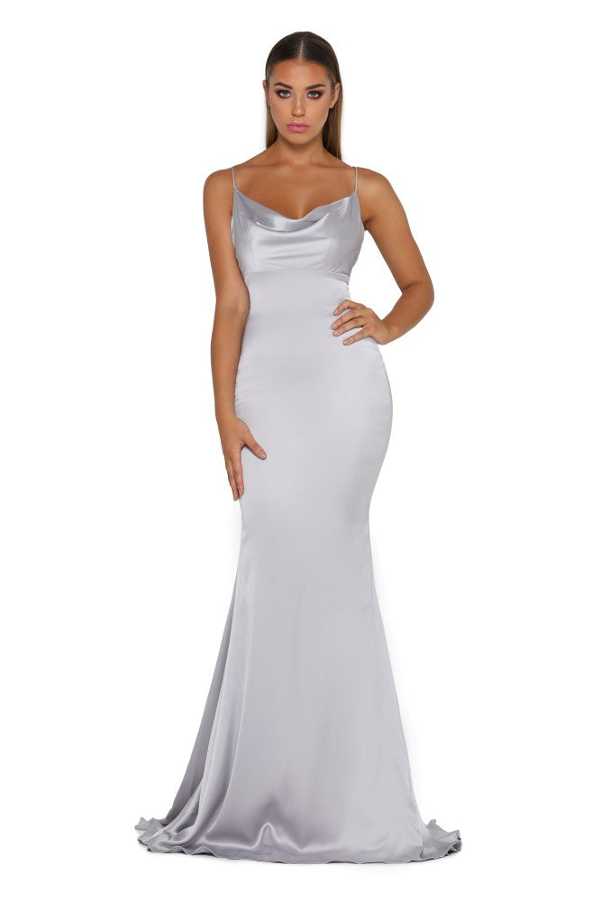 Portia & Scarlett Dana Icey silver coloured silky satin gathered bust bodycon fit strech bridesmaids dress sexy formal gown