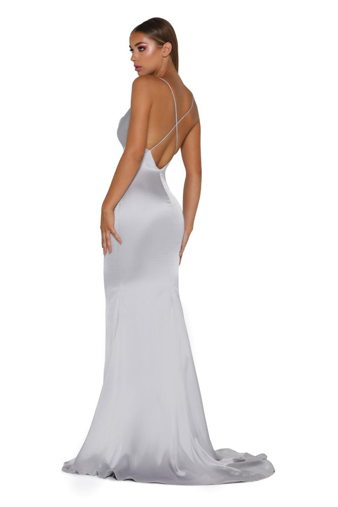 Portia & Scarlett Dana Icey silver coloured silky satin gathered bust bodycon fit strech bridesmaids dress sexy prom dress