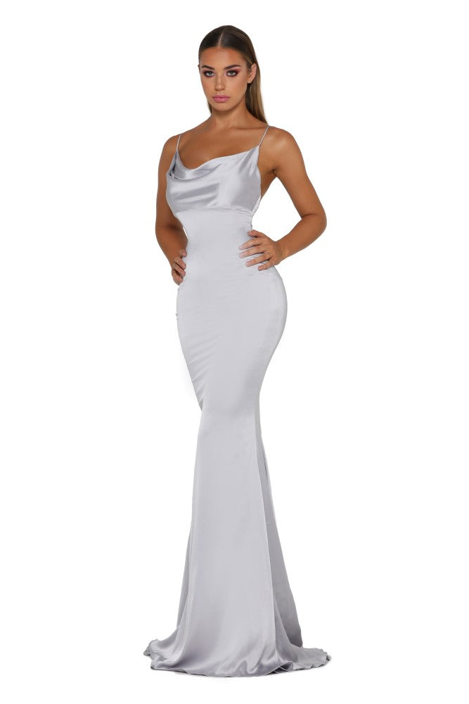 Portia & Scarlett Dana Icey silver coloured silky satin gathered bust bodycon fit strech bridesmaids dress sexy evening dresses