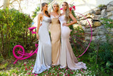 Portia & Scarlett Dana champagne coloured silky satin gathered bust bodycon fit strech bridesmaids dress sexy prom dresses