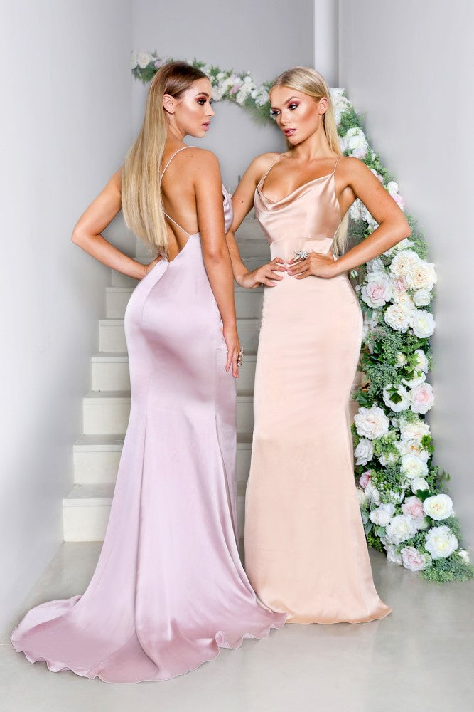 Portia & Scarlett Dana champagne coloured silky satin gathered bust bodycon fit strech bridesmaids dress sexy debs dresses