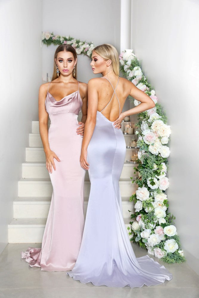 Portia & Scarlett Dana mauve purple silky satin gathered bust bodycon fit strech bridesmaids dress with fishtail mermaid train sexy evening dress