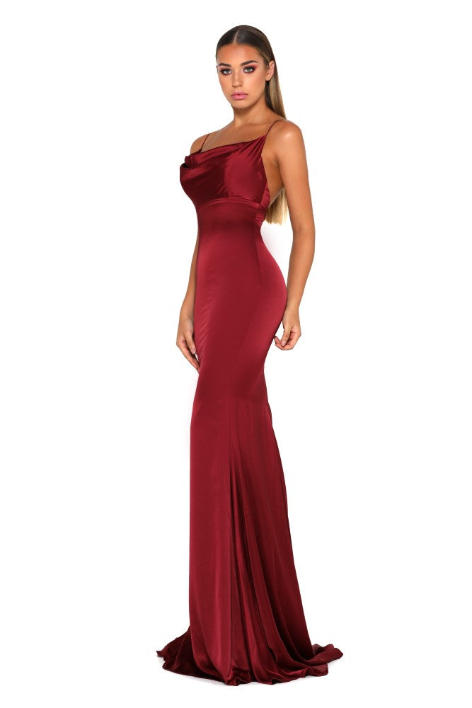 Portia & Scarlett Dana red silky satin gathered bust bodycon fit strech bridesmaids dress with sexy prom dress