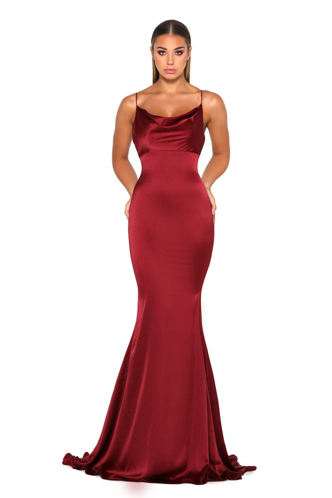 Portia & Scarlett Dana red silky satin gathered bust bodycon fit strech bridesmaids dress with sexy formal gown