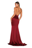 Portia & Scarlett Dana red silky satin gathered bust bodycon fit strech bridesmaids dress with sexy debs dress