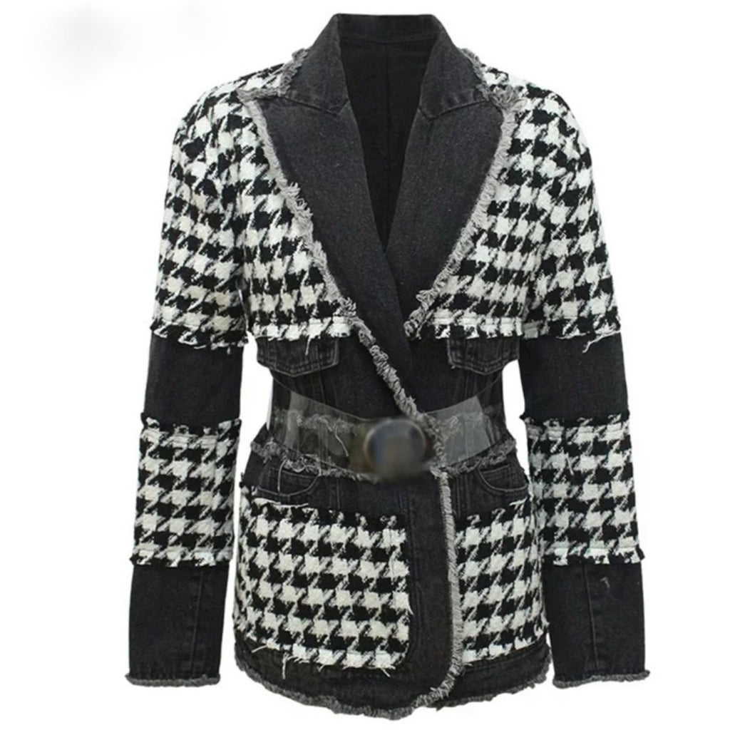 Natalynska houndstooth patchwork jacket belted denim Balmain style