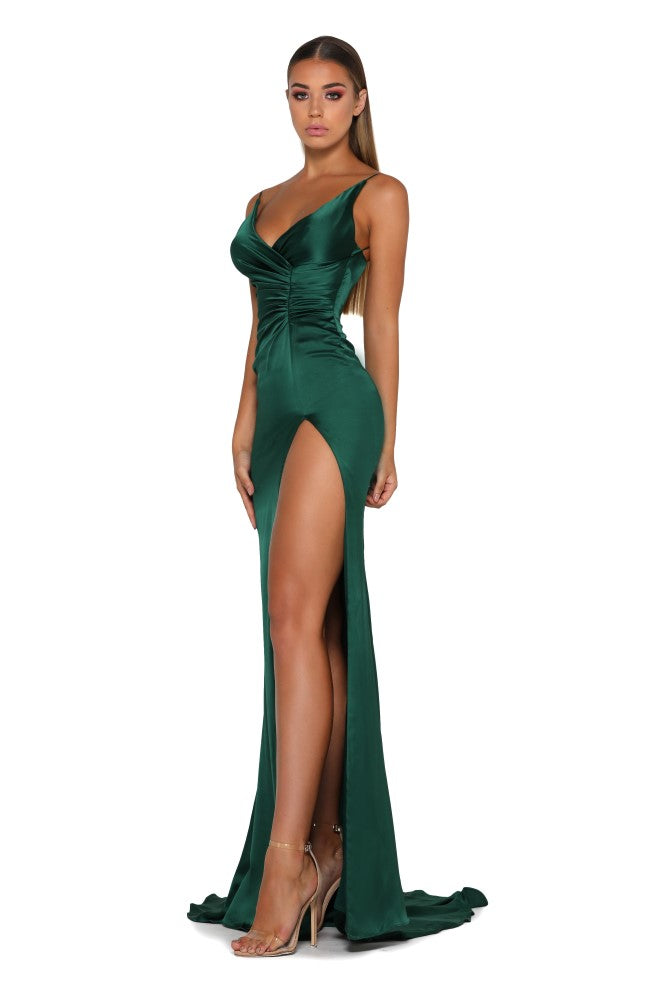 Portia & Scarlett Hugo silky strech satin backless prom dress with backless long fishtail mermaid train, V neckline, sexy thigh split emerald green