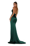 Portia & Scarlett Hugo silky strech satin backless formal gown with backless long fishtail mermaid train, V neckline, sexy thigh split emerald green