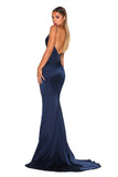 Portia & Scarlett Hugo silky strech satin backless debs dress with backless long fishtail mermaid train, V neckline, sexy thigh split navy blue