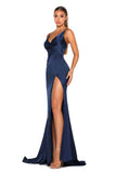 Portia & Scarlett Hugo silky strech satin backless bridesmaids dress with backless long fishtail mermaid train, V neckline, sexy thigh split navy blue