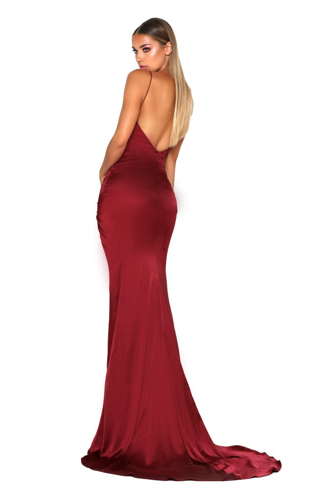 Portia & Scarlett Hugo silky strech satin backless formal gown with backless long fishtail mermaid train, V neckline, sexy thigh split ruby red