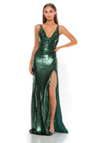 portia and scarlett gigi ps2024 V neck sequin evening dress with one thigh high split sexy back strap detail