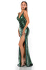 portia and scarlett gigi ps2024 V neck sequin evening dress with one thigh high split sexy back strap detail side