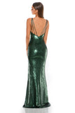 portia and scarlett gigi ps2024 V neck sequin evening dress with one thigh high split sexy back strap detail back