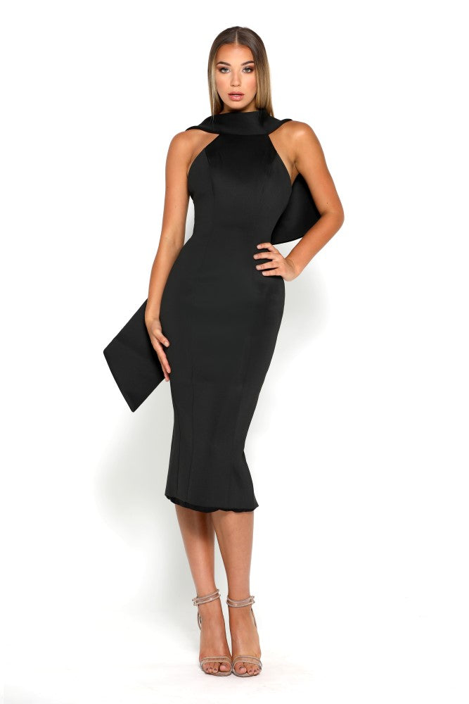 Portia & Scarlett Artisa Black Bow Midi evening dress
