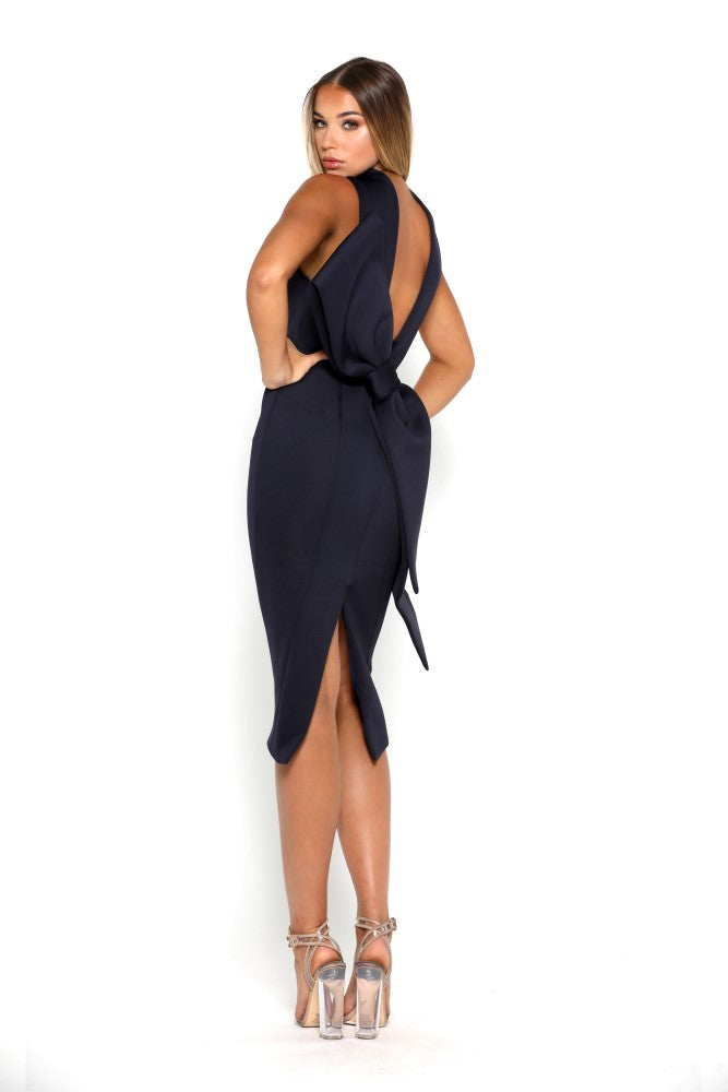 Portia & Scarlett Artisa navy Blue Bow Midi dress sleeveless bridesmaids dress